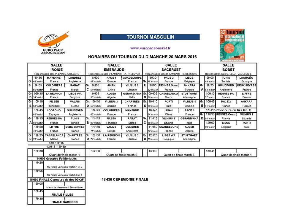 Euro Pacé Basket 2016 - Tournoi Masculin - Programme du dimanche