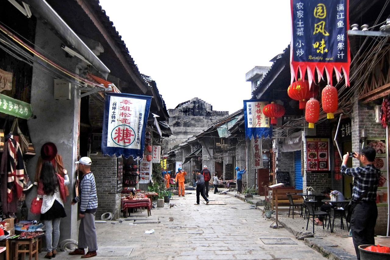 Angekommen in Xingping, das immer mehr Touristen bekommt