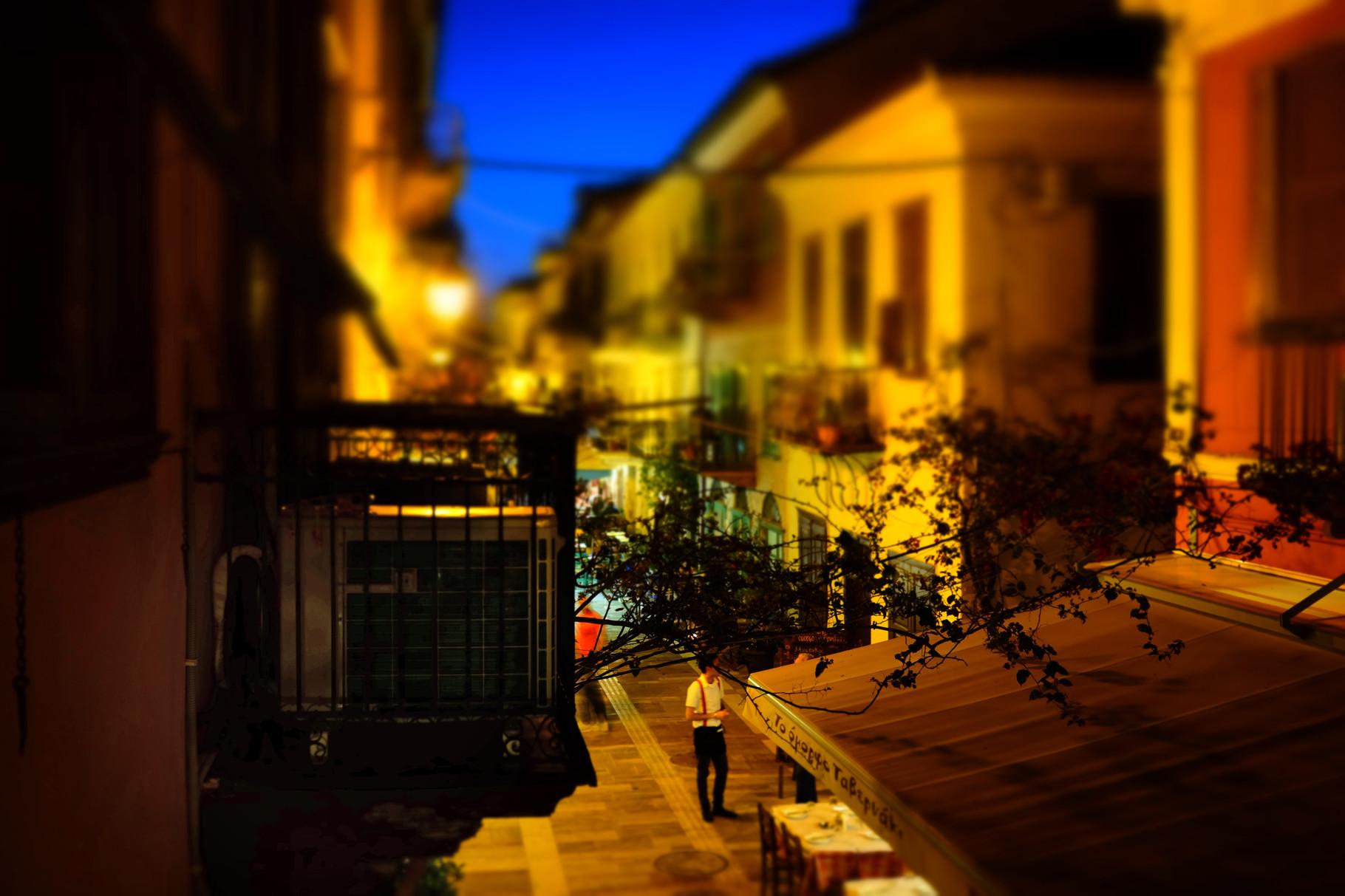 Nachtstimmung von unserem Balkon in Nafplion, Peloponnes