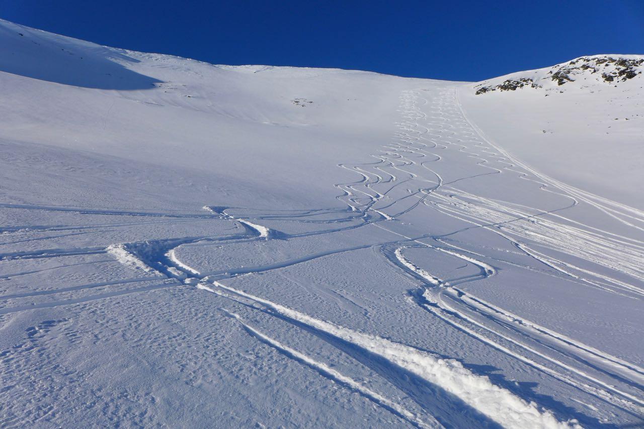 Unsere Spuren im Osthand des Rundfjellet