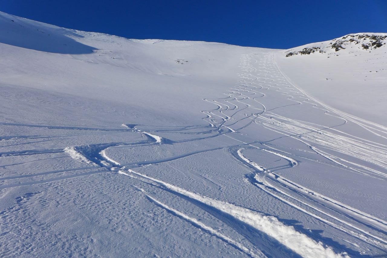 Unsere Spuren im Osthang des Rundfjellet – Skitour Lyngen Alpen