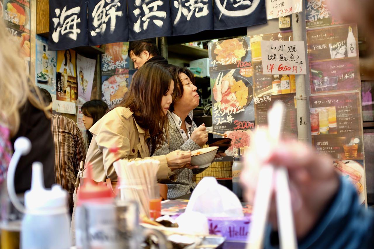Ameyoko Markets beliebte Strassenküchen, Ueno Tokio