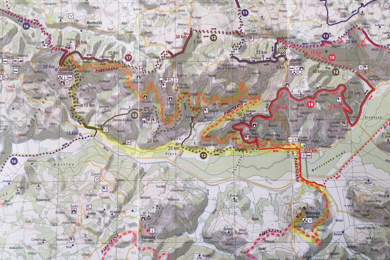 Karte Parenzana MTB Strecke Grožnjan-Motovun