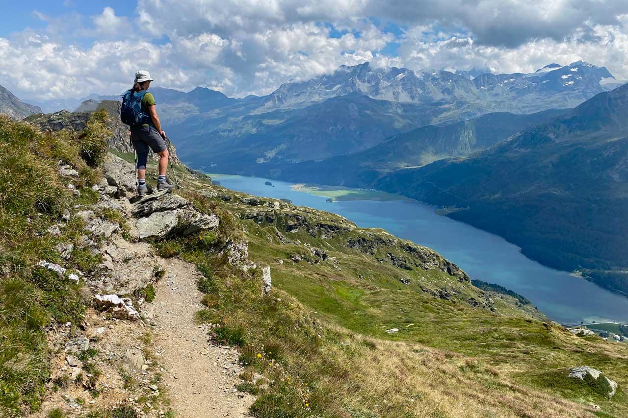 Wanderung Panorama mit Silser See und Bernina Alpen