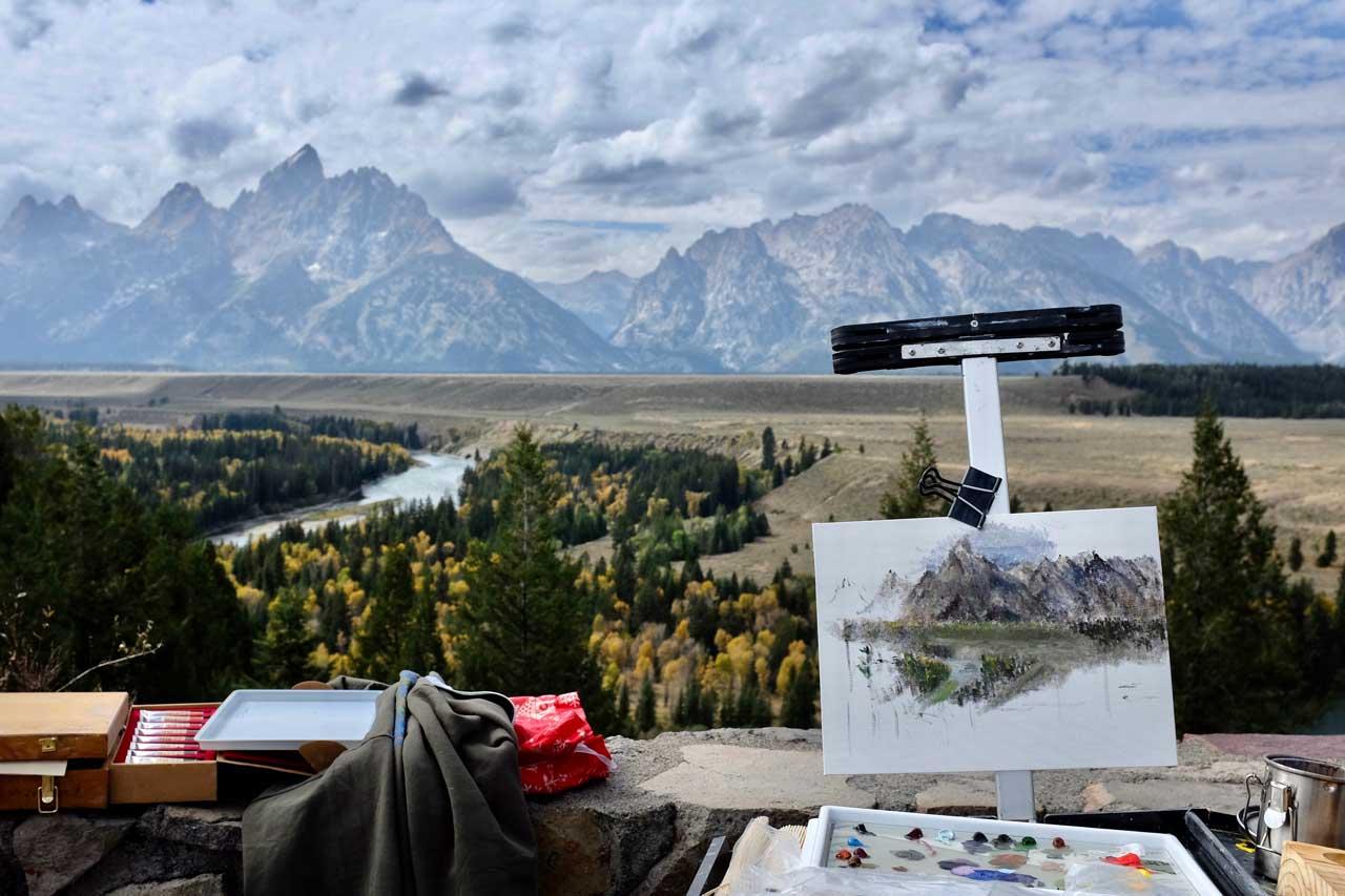 Maler am Snake River Overlook
