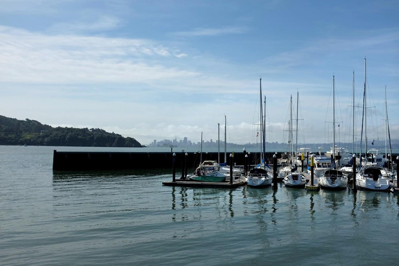 Yachthafen in Tiburon mit San Francisco Skyline
