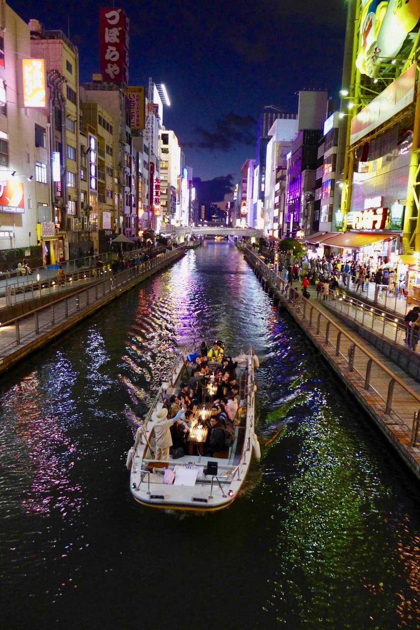 Osaka Dotonbori River Cruise bei Nacht