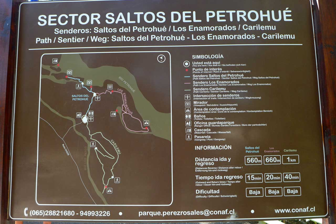 Wanderkarte Saltos de Petrohué