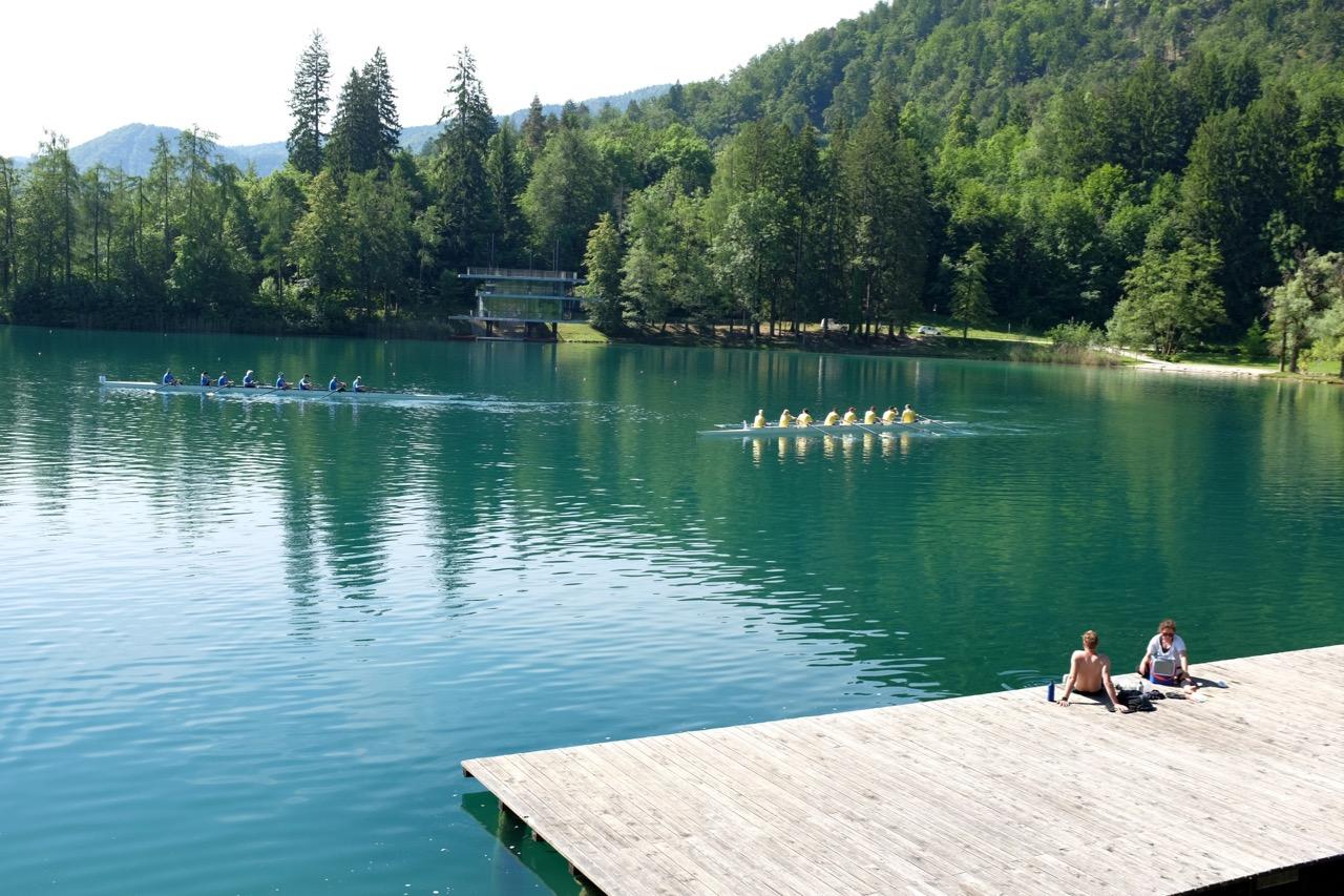 Blick zum Campingplatz Bled Slowenien
