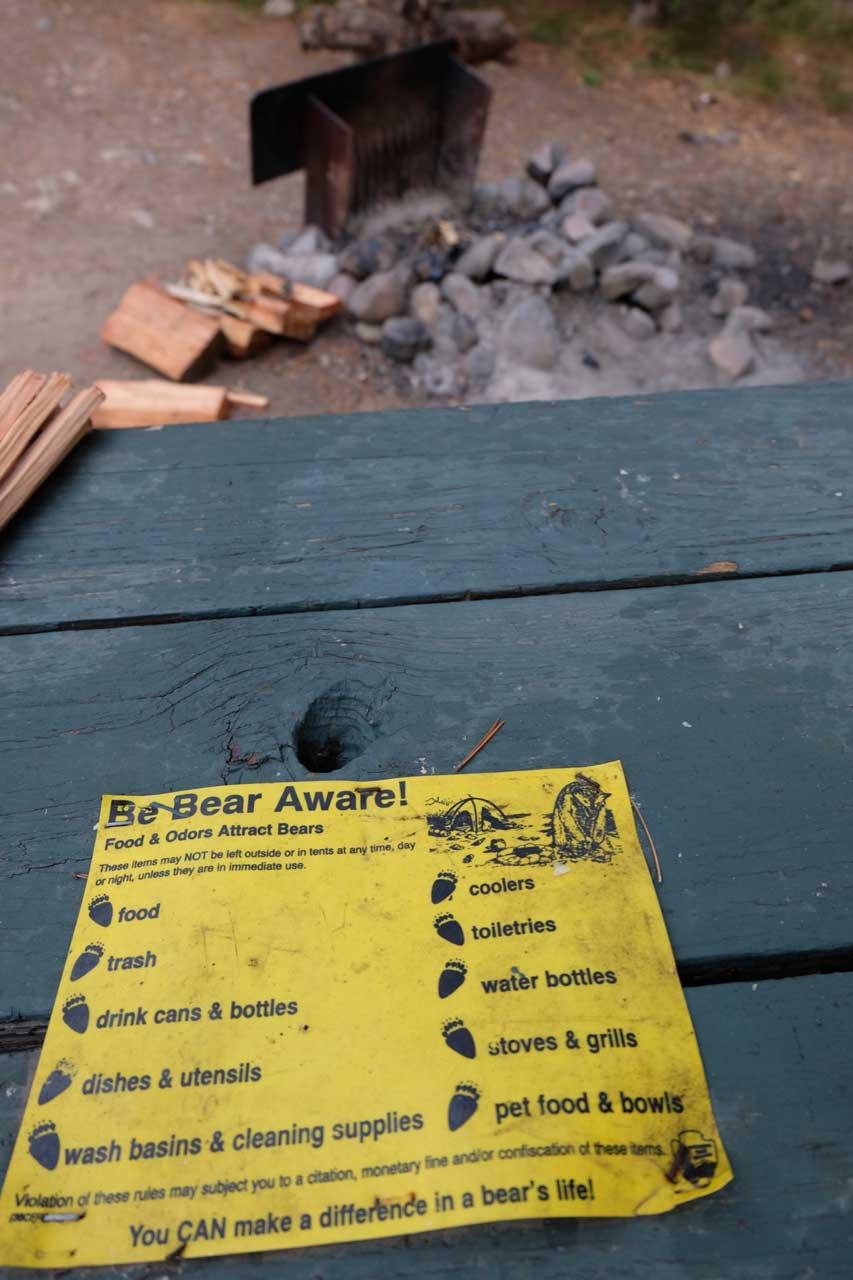 Bären-Regeln beim Camping im Grand Teton