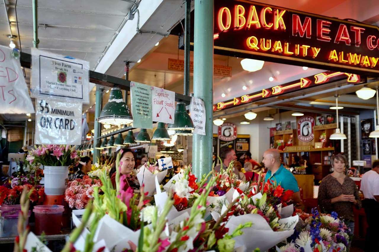 Blumenverkäufer vom Pike Place Market Seattle