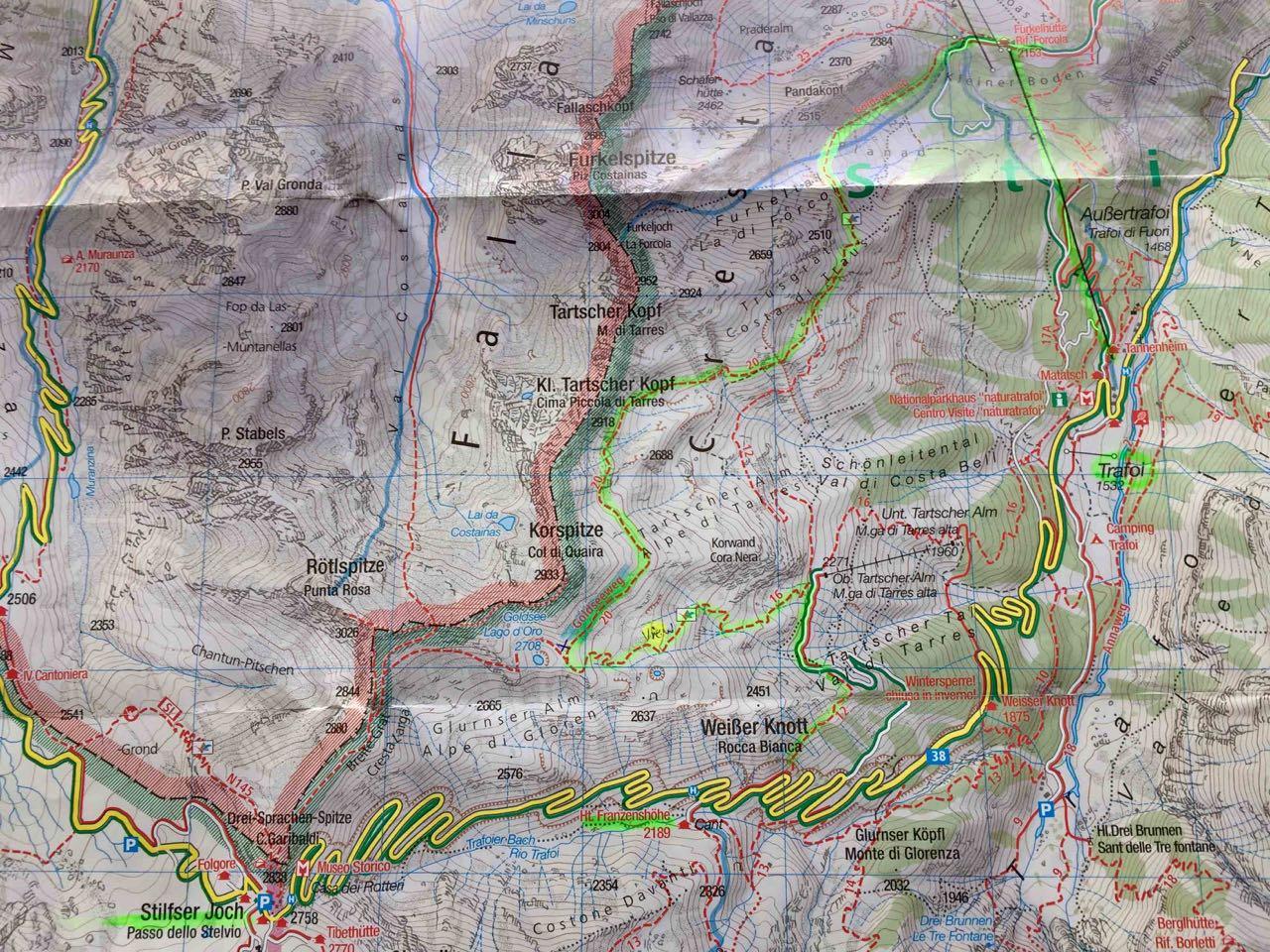 Karte Trafoier Höhenweg am Ortler Stilfserjoch