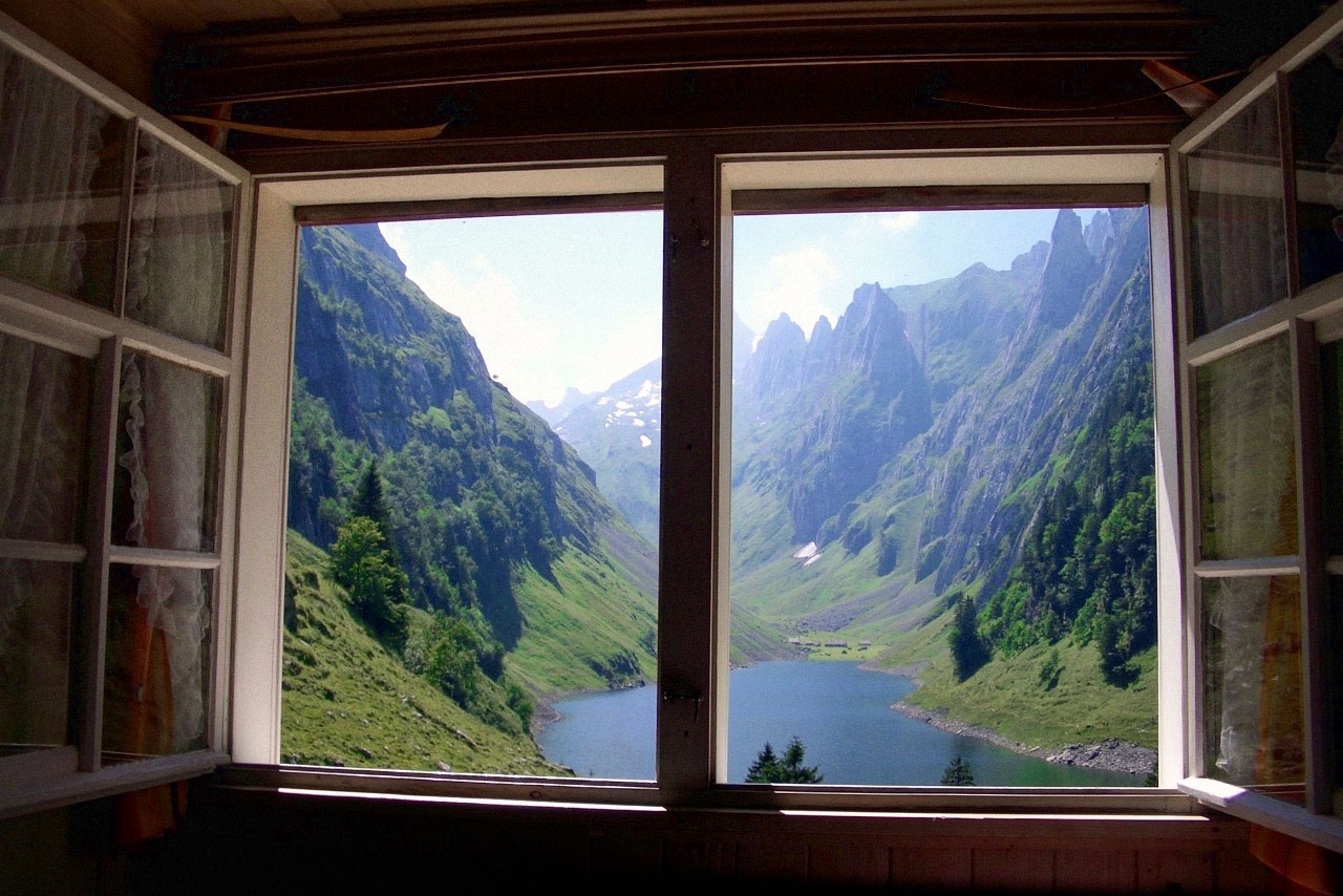 Blcik vom Zimmer, Berggasthaus Bollenwees, Appenzeller Alpen