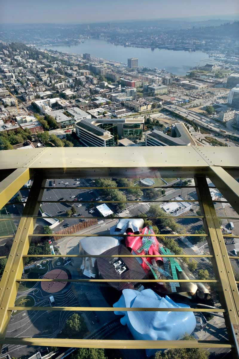 Blick durch den Glasboden, Seattle Space Needle Turm