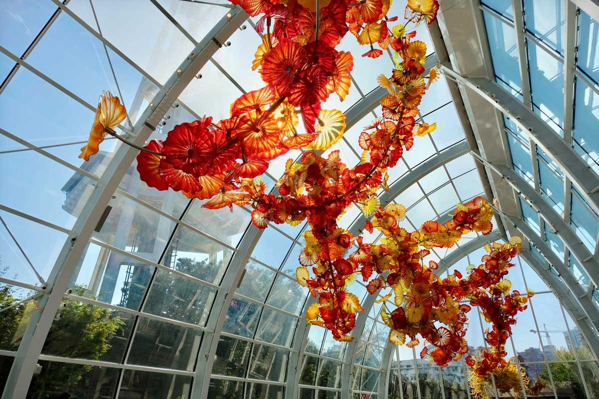 Chihulys gigantische Blumenskulptur im 'Glass house'