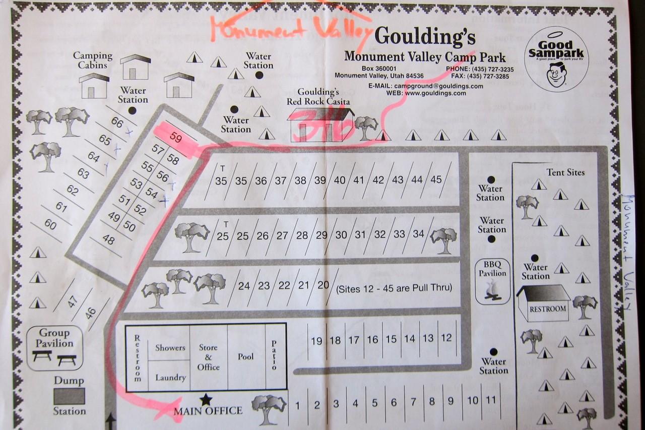 Karte Goulding's Campground