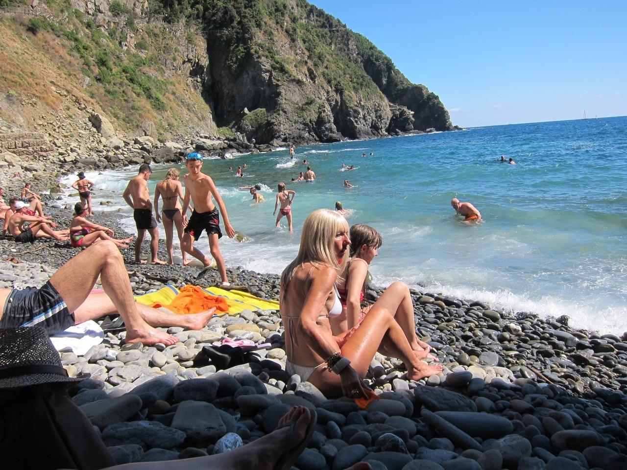 Strand von Riomaggiore, Cinque Terre Ligurien