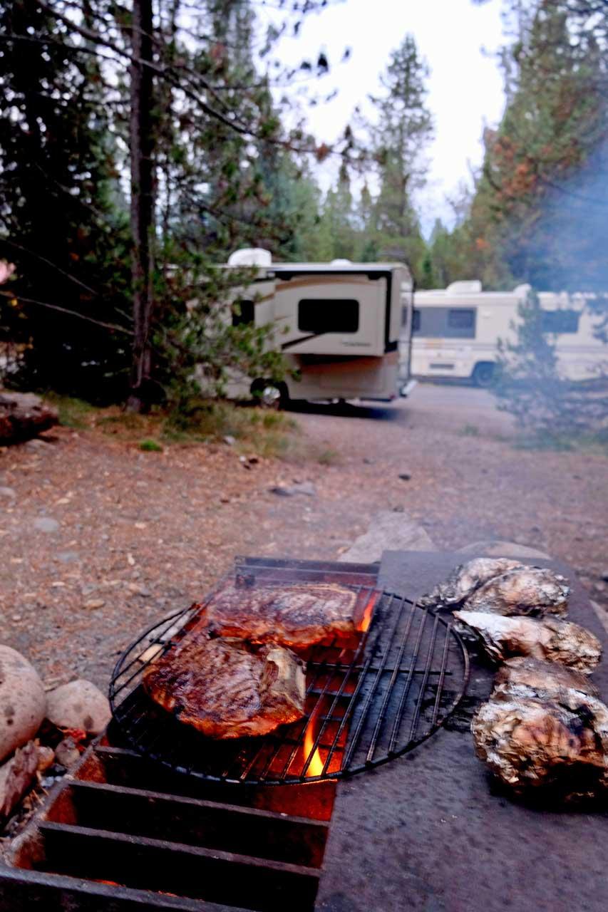 Campfire Colter Bay Campground Grand Teton