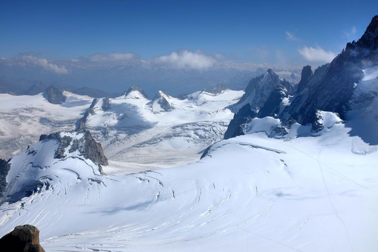 Blick auf das Vallée Blanche am Mont Blanc