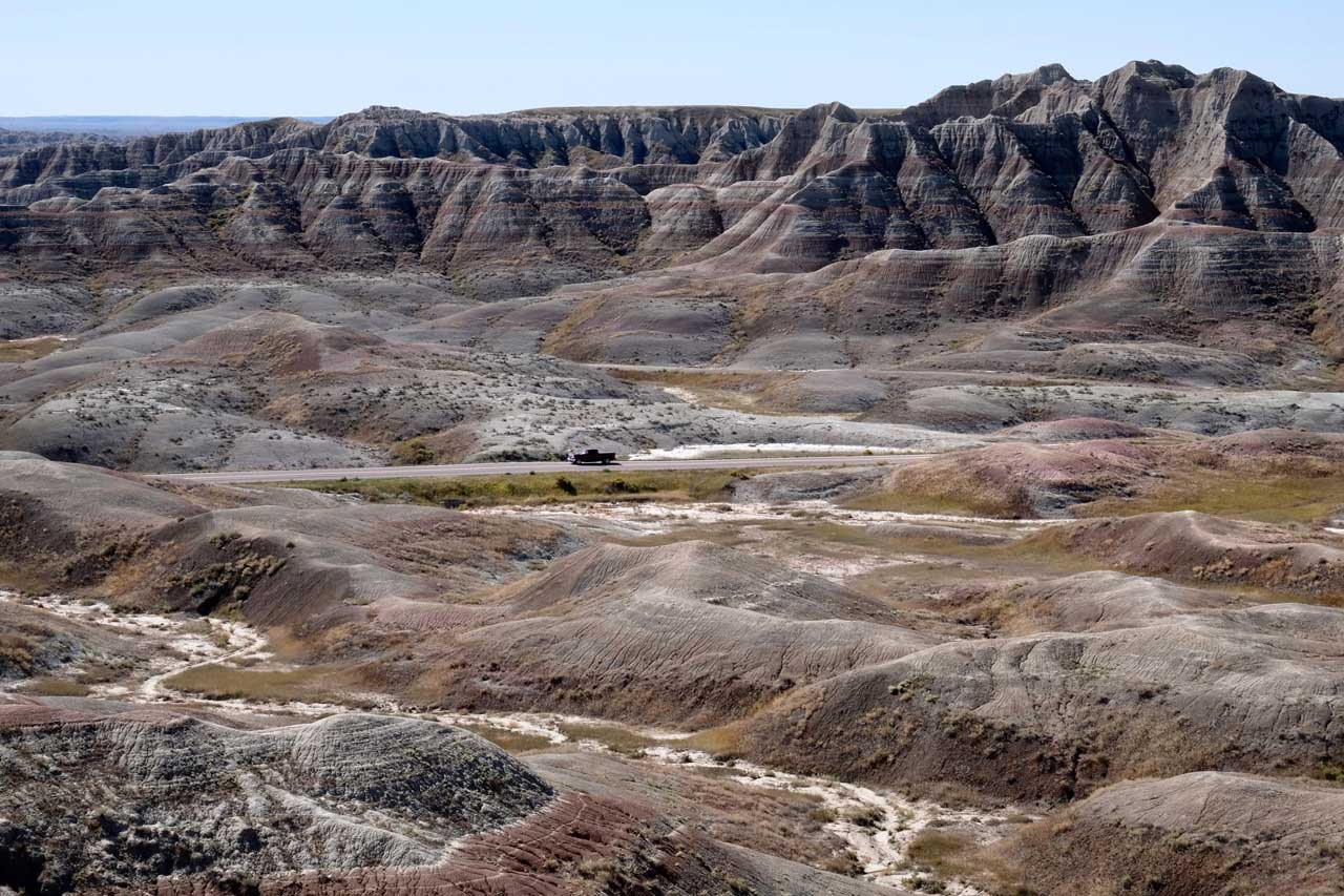 Landschaft am Conata Basin Overlook Badlands Nationalpark