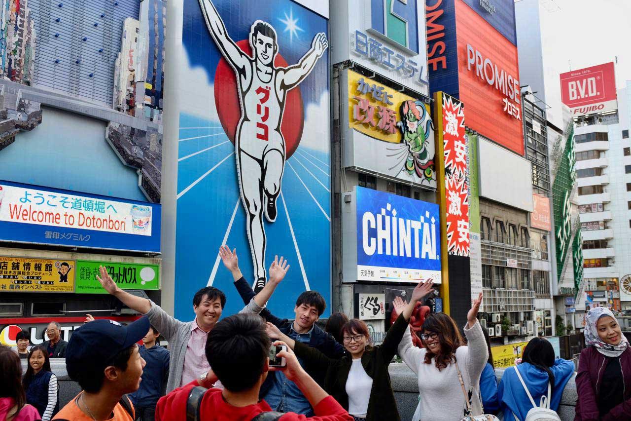 Beliebtes Fotomotiv, der Running Glico Man von Osaka