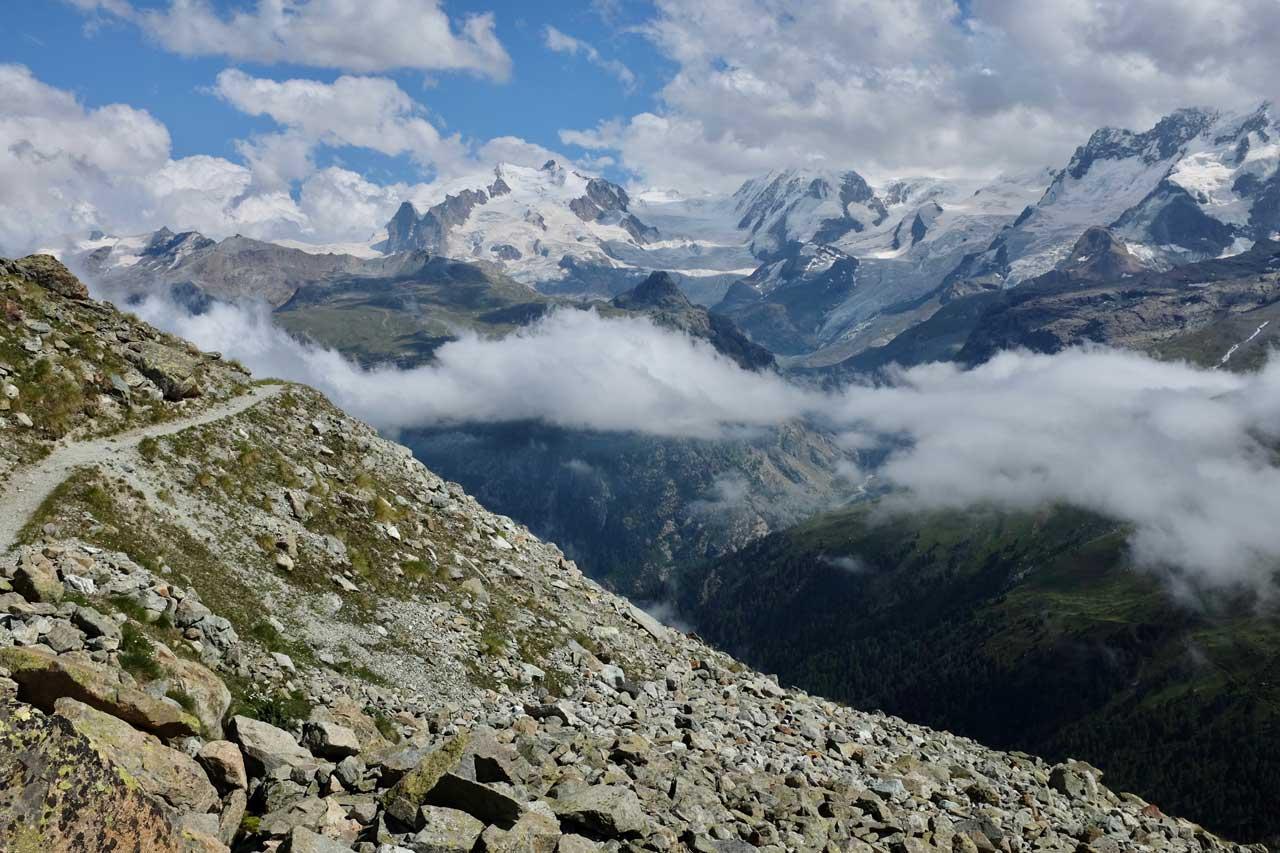 Von Höhbalmen der Blick auf Monte Rosa und Liskamm