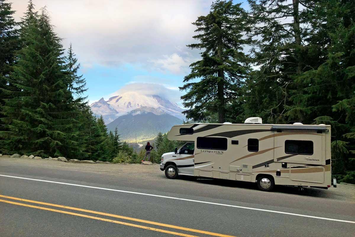 Der erste Anblick des 'Mount Rainier'