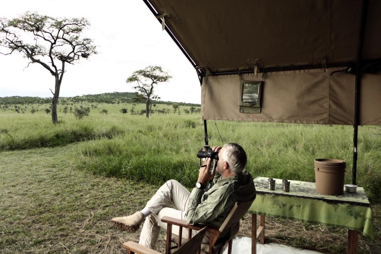 Abends vor unserem Zelt-Camp Kati Kati  in der Serengeti