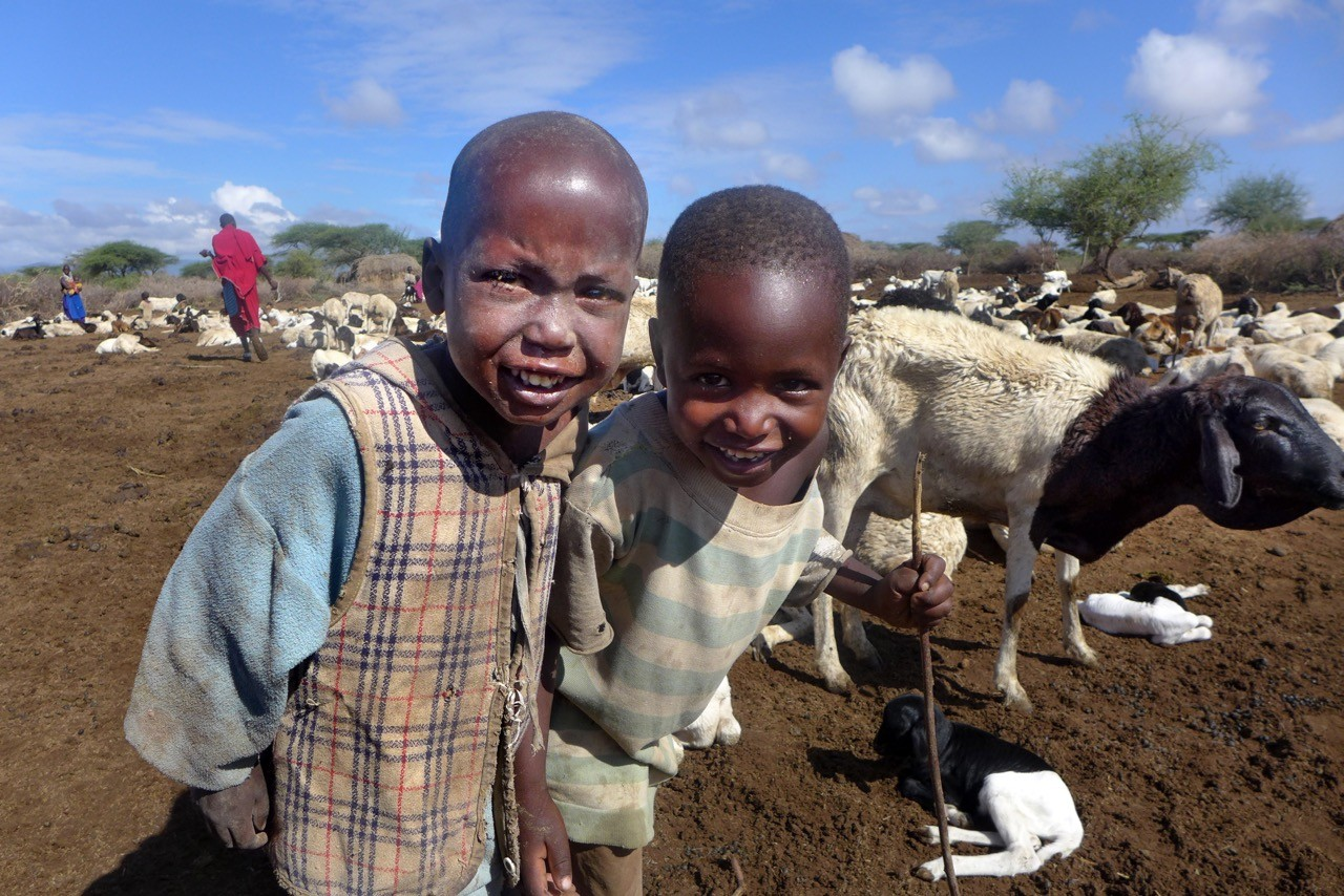 Lustige Massai Kinder, Tansania