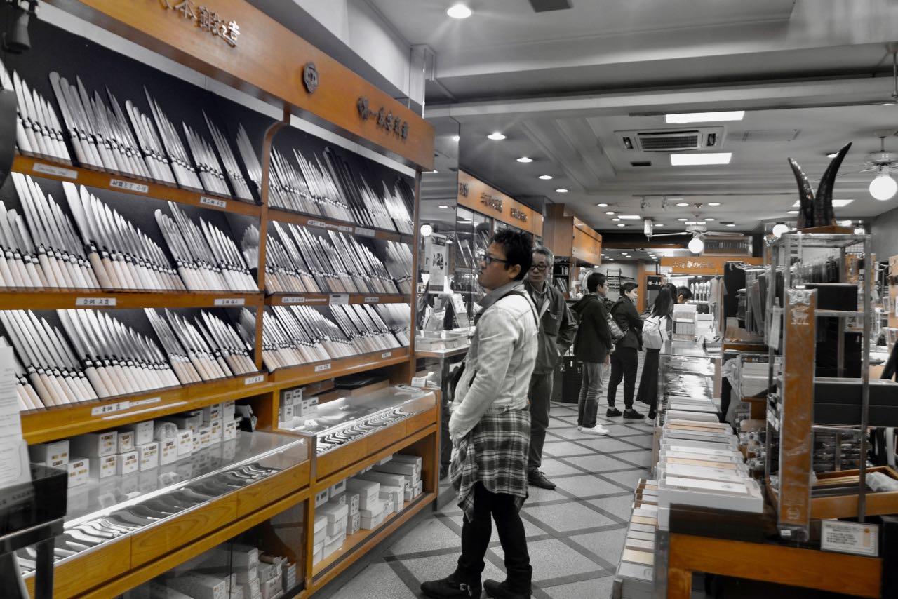 Japanische Messer in der Kitchen Shopping Arcade Osaka