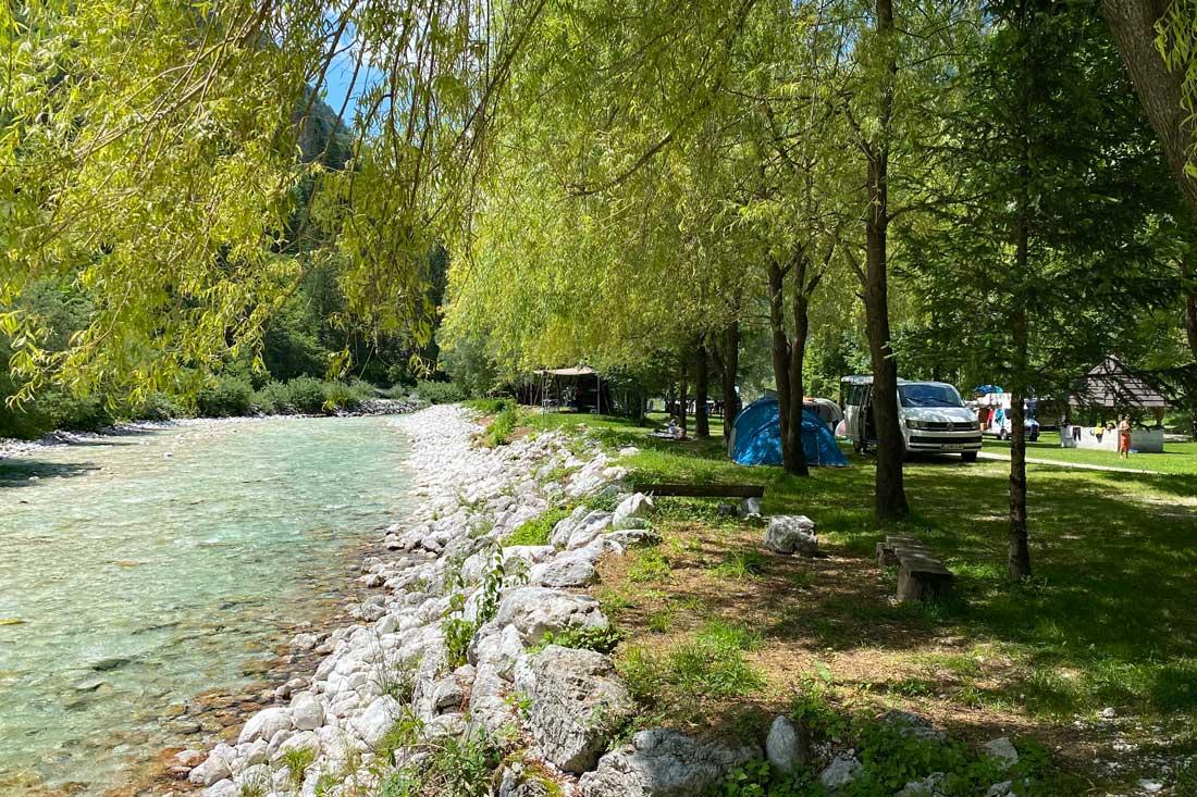 Campingplatz Kamp Klin am Soca Fluss