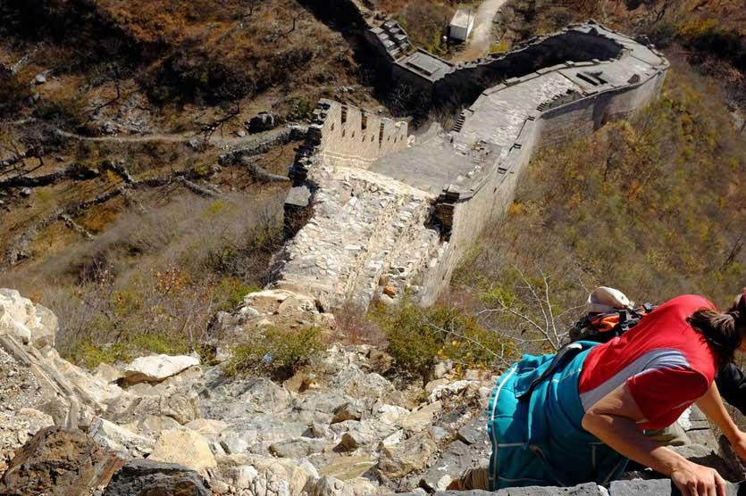 Klettereinlage kurz vor dem Ende unserer 'Großen Mauer Tour'