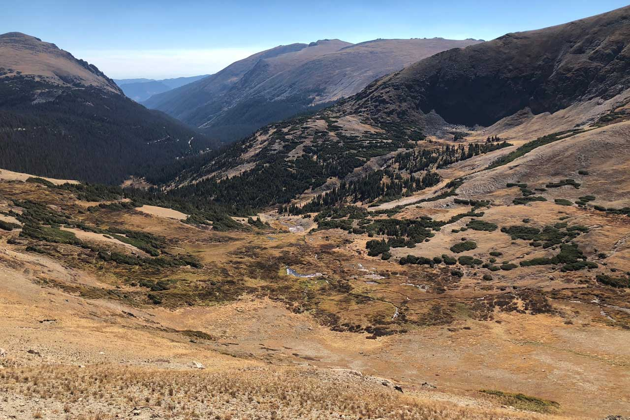 Herbstlandschaft von der Trail Ridge Road, Rocky Mountain Nationalpark
