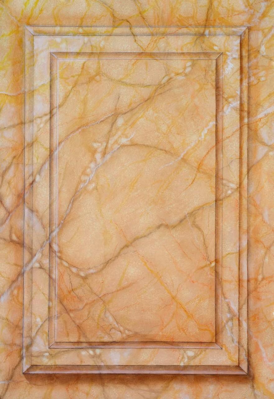 Imitation marbre Jaune fleuri - Pascale Richert