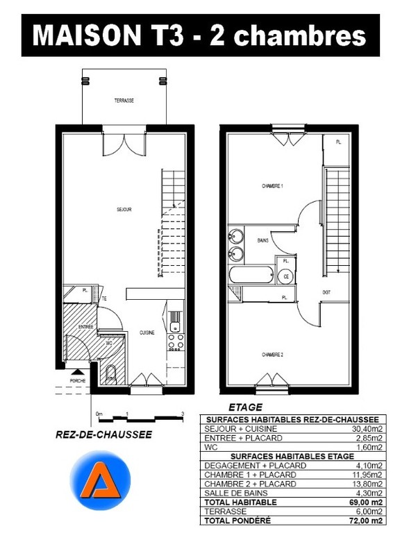 St gervais 33240 louer location a st andre de cubzac for Plan maison t3