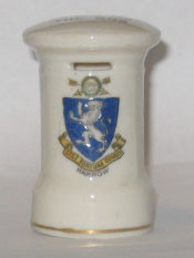 "MIDDLESEX PILLAR BOX: HARROW Crest on Front and ""I Can't Get A Letter From You So Send You The Box"" on Top. 73mm High. No Manufacture."