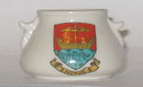 KENT BOWL: HYTHE Crest on Side with two small handles. 35mm High x 55m Dia. Made by Willow Art China.