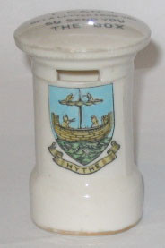 "KENT PILLAR BOX: HYTHE Crest on Front and ""I Can't Get A Letter From You So Send You The Box"" on Top. 72mm High. No Manufacturer."