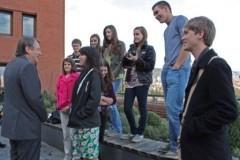 Die SPEP-Schüler plauderten auch mit Landrat Gall, Vorsitzender der Marshall-Gesellschaft (Bild: MTK)