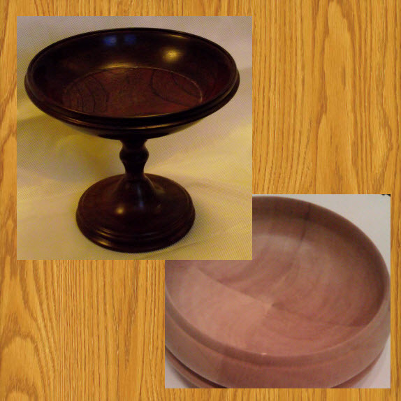 Bowls - the Pedestal Bowl is turned in Purple Heart