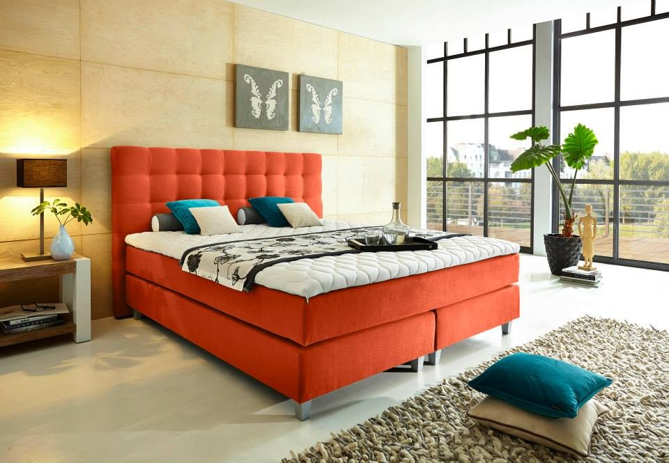 Boxspringbett Welcon Rockstar 140x200, 140x210, 160x200, 160x210, 180x200, 180x210, 200x200, 200x210, 210x200 und 210x210 H1 H2 H3 H4 H5 orange
