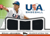 BRIAN JOHNSON / USA Baseball Triple Jersey - No. TR-BJ  (#d 2/10) !!! 9€ !!!