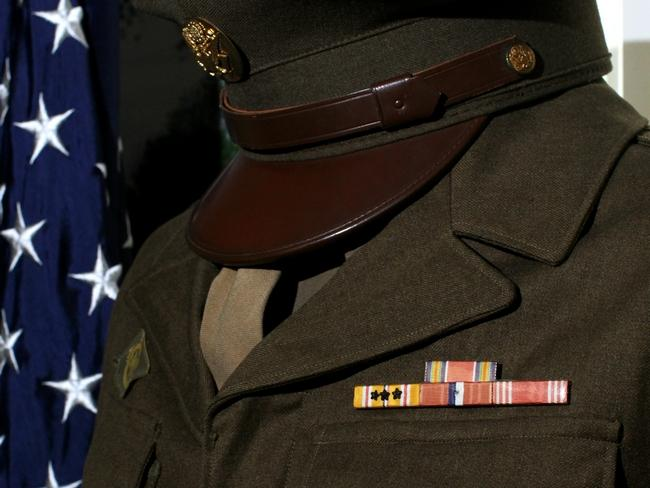A uniform from that was worn by Randall Dekker in World War II while serving in the U.S. Army Air Corps. Dekker's uniform and numerous other artifacts are now on display at the Zeeland Historical Society. Rob Wetterholt Jr./Sentinel Staff