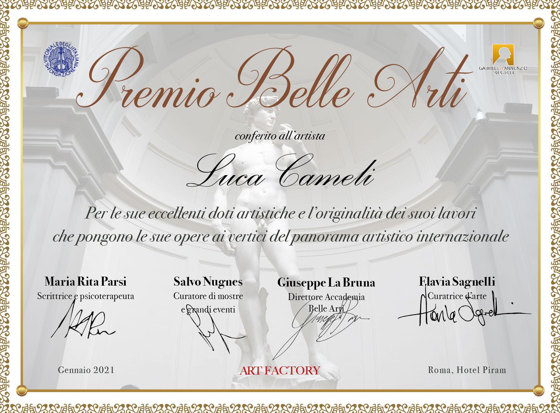 Premio Belle Arti 2021 conferito al fotografo Luca Cameli