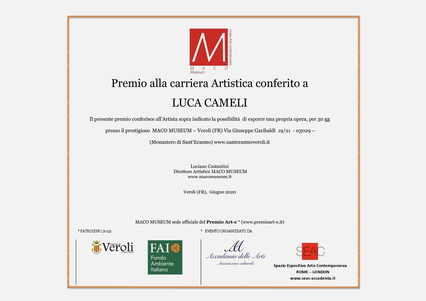 Premio alla Carriera Artistica a Luca Cameli dal Maco Museum