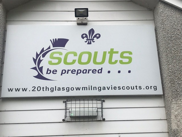 Sign above the Scout Hall door