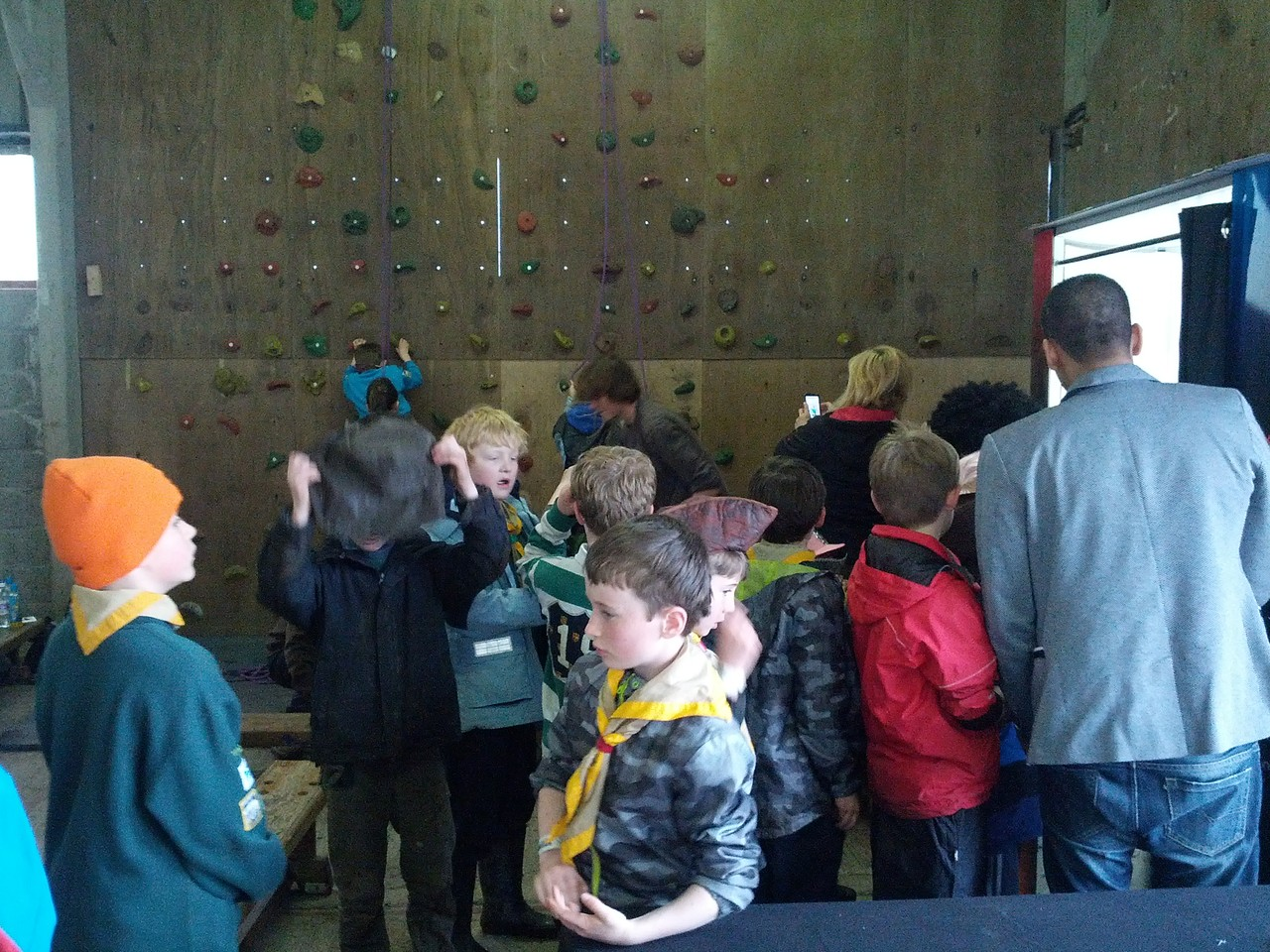 photo booth and wall climbing indoors