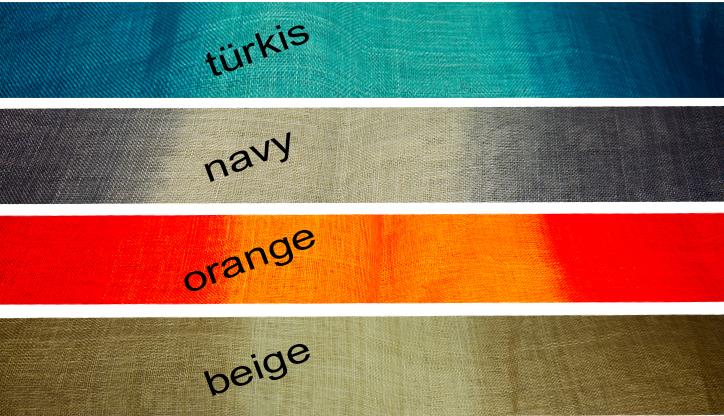 Summer of Sinamay, Farbverläufe in verschiedenen Kombinationen. Breite 0,90m
