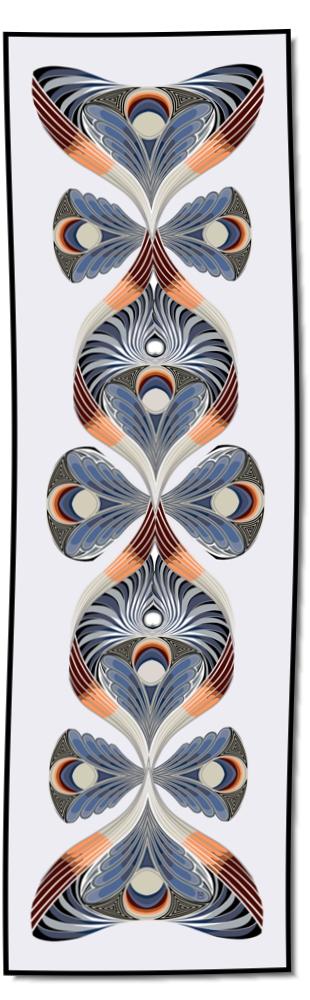 Artikel Nr. 2023 - Der Pfau - blau (180 x 55 cm)