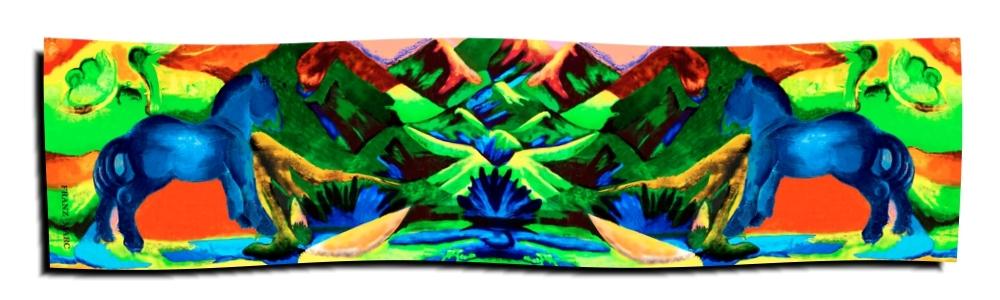 Art-Nr. 2030 - Blaues Pferd - Marc (Schal 175x46 cm)
